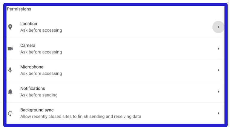 Google chrome privacy permissions